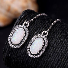 Crystals Pave Framed Oval Druzy Gems Drop Linear Earrings Silver With Long Link