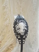 Black Filigree Headband - Skull & Dragon Cameo