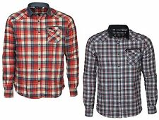 MENS BRAND NEW ETO CHECK SHIRT LONG SLEEVE SLIM FIT RED BLUE CHECKED S - XL