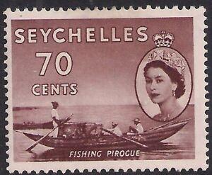 Seychelles 1954 - 61 QE2 70ct Brown Fishing Pirocue MM SG 183a ( D1368 )