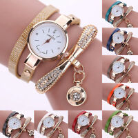Fashion Women Faux Leather Rhinestone Wrist Watches Analog Quartz Watch Bracelet