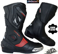 RED & BLACK HIGH TECH MENS MOTORBIKE / MOTORCYCLE CE RACING LEATHER SHOES BOOTS