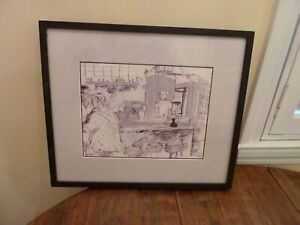 Gouache Pen SIGNED Painting NY City Diner Counter Professional Chelsea Frame
