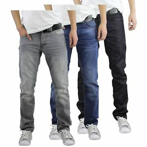 Mens Jeans Crosshatch Wayne Slim Leg Tapered Denim Pants With Belt
