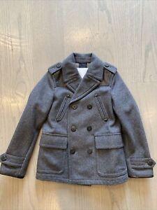 Burberry Dark Grey Wool Coat size 8y Leather Details