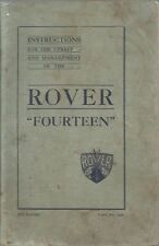 ROVER P1 quattordici 14 BERLINA ORIG. 1933 Proprietari Manuale di Istruzioni & Manutenzione