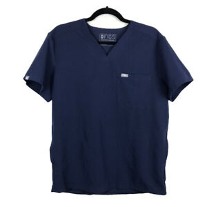 FIGS Technical Collection Men's Chisec Three-Pocket Scrub Top Navy Blue Small