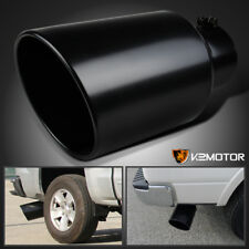 """5"""" Tip 8"""" Outlet 15"""" Long Stainless Steel Roll Edge Truck Exhaust Tip Black"""