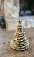 "Vintage Christmas Holiday Tree Gold Tone Ornament W/ Colorful Rhinestones 4"""