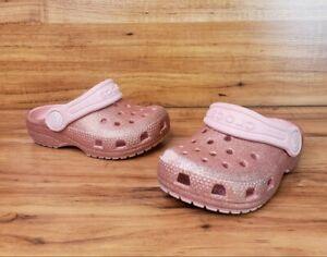 Crocs Glitter Clogs Toddler / Little Kid Size C 6 Pink Glitter