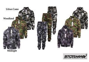 Mens Army Camo Camouflage Fleece Tracksuit Hoodie | Zipper | Joggers