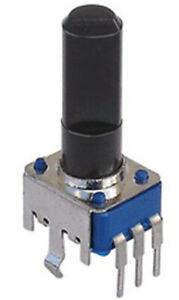 New - Bourns Rotary potentiometer 10K Linear center detent. 6mm diam 15mm shaft