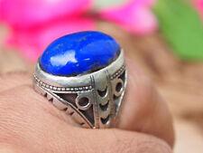 Orientali antichi argento massiccio anello lapis lazuli dall'Afghanistan NO. 17/479