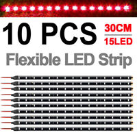 "10x 12"" 1FT 15 Flexible LED Strip Light Waterproof For Car Truck Boat 12V"