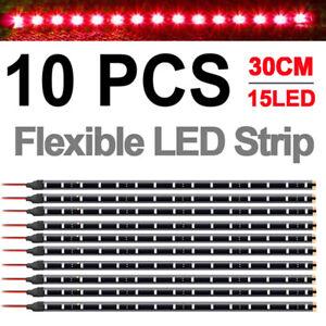 """10x 12"""" 1FT 15 Flexible LED Strip Light Waterproof For Car Truck Boat 12V"""