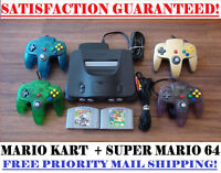 N64 NINTENDO 64 CONSOLE + CONTROLLER(S) + SUPER MARIO AND MARIO KART! CLEANED!