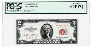 1953-A $2 RED SEAL UNITED STATES LEGAL TENDER NOTE ~~PCGS GEM NEW 66PPQ