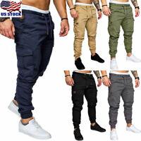 Men's Sport Jogger Cargo Pocket Sweatpants Slim Drawstring Long Trousers Pants