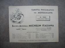 LISTINO PREZZI MICHELIN Tariffa Pneumatici Moto ORIGINALE 1935 Tipog. BUZZETTI