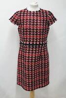 HOBBS Ladies Angeline Red Cotton Tweed Short Sleeve Dress Size EU44 UK16 NEW