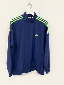 ADIDAS Men Blue Green Stripes Full Zip Sports Wear Zip Up Track Jacket Size L