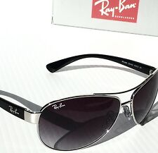 NEW* Ray Ban AVIATOR 63mm Silver w Black with Grey Lens Sunglasses RB3386 003/8g