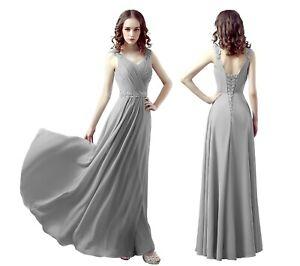 UK woman Chiffon straps V-neck A-Line corset back Bridesmaid Prom, party dress