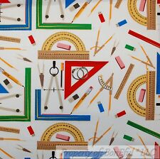 BonEful FABRIC FQ Cotton Quilt White Primary Color Number Math School Teacher US