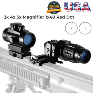 3x 4x 5x Hunting Scope Tactical Sight Red Dot Combo Flip 1x40 Rifle Magnifier ✅✅