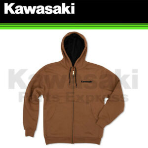 NEW GENUINE MEDIUM KAWASAKI DUCK BROWN ZIP-UP HOODED FLEECE K002-0259-BRMD
