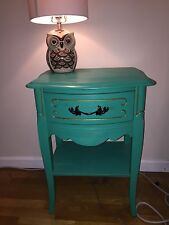 Barely used, one-of-a-kind teal nightstand in great condition; one drawer