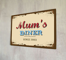 Mums Diner retro metal sign A4 metal plaque shabby chic