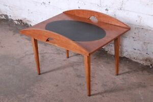 Paul McCobb for Lane Signature Collection Walnut and Leather Side Table