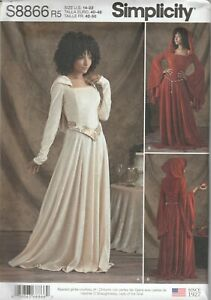 Simplicity Sewing Pattern 8866 Miss Cosplay Knit Medieval Gothic Costume 14-22