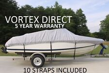 NEW VORTEX HEAVY DUTY FISHING/SKI/RUNABOUT/BOAT COVER 16' - 17 1/2' GRAY/GREY