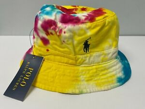 NEW POLO RALPH LAUREN S/M L/XL Tie-Dye Bucket Hat Cotton Chino Pony Logo