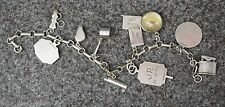 "VINTAGE STERLING SILVER 7"" MOVING CHARM BRACELET WILLIAMSBURG REPORT CARD ESTATE"