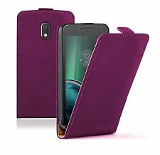 SLIM PURPLE Leather Flip Case Cover Pouch For Motorola Moto G4 Play (+2 FILMS)