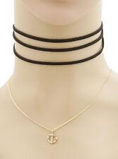 Women's Black Gold Nautical Anchor Pendant Layered Choker