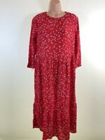 BNWOT NEXT red ditsy floral print smock midi dress size 8 petite also fits 10