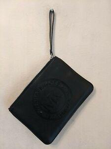 MICHAEL KORS  LARGE TOP ZIP PVC LEATHER WRISTLET MK SIGNATURE BLACK NWOT