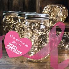 Mason Jar FIREFLY LUCE LED LAMPADA donazioni di beneficenza per Macmillan