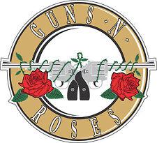 """Gun and Roses Music bumper sticker, wall decor, vinyl decal, 5""""x 4.6"""""""