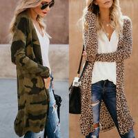 Women Loose Long Sleeve Coats Cardigans Leopard Cardigan Casual Jacket Long Tops