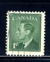 1949 Canada 1c Green King George VI Stamp  Scott # 284 A119 USED
