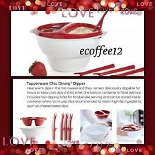 TUPPERWARE CHIC DINING DIPPER Divided Fondue Bowl Set w/ Dipping Forks BPA Free!