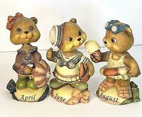 Vintage Lot of 3 Bobble Head Bears April June August Figurines