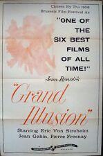 La GRANDE ILLUSION US one sheet movie poster 27x41 R61 JEAN GABIN JEAN RENOIR