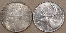 Canada 1937 + 1942 Twenty-Five Cents AU as Pictured