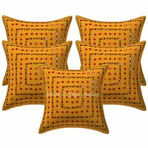Ethnic Decorative Sofa Cushion Covers 16 x 16 Embroidered Cotton Pillowcases